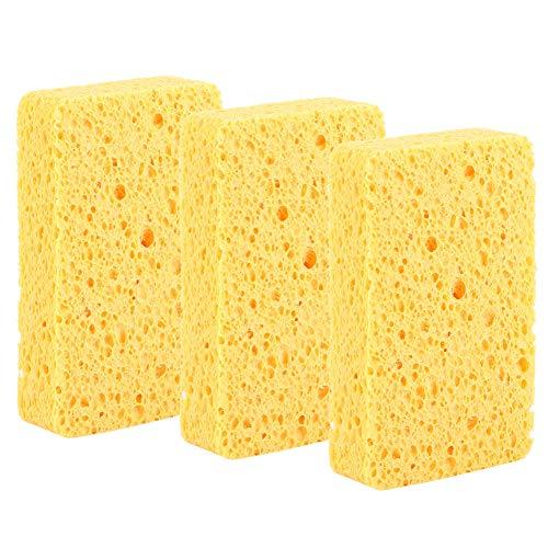Surebuy Esponja de Limpieza, 3 Piezas de Esponja para Fregar de Alta Resistencia Que no Raya, estropajos Multiusos de celulosa de Doble Cara para cocinas, baño, Polvo, Aceite, Suciedad