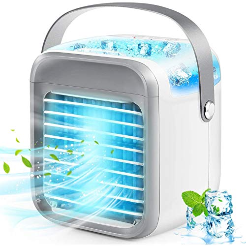 Air Conditioner, Mini Air Conditioner, Portable Air Conditioner 4-in-1 Air Cooler, 3 Speed 7 Colors USB Rechargeable Evaporative Cooler Air Conditioner Humidifier with Handle, Suitable for Home Office