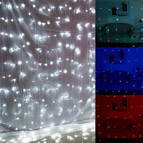 Mood Lights für Schlafzimmer Fairy Light Hochzeit im Freien Partei-Dekor EU-Stecker 220V AC 300LED 3x3m Fenster Vorhang Eiszapfen String (Color : Pink)