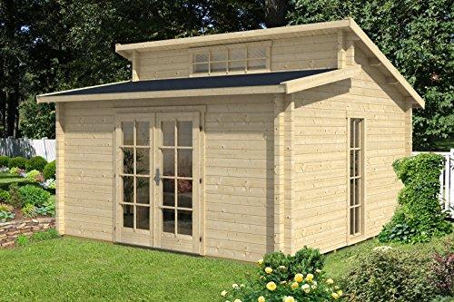CARLSSON Alpholz Gartenhaus Lausitz aus Massiv-Holz | Gerätehaus mit 40 mm Wandstärke | Garten Holzhaus inklusive Montagematerial | Geräteschuppen Größe: 420 x 420 cm | Pultdach