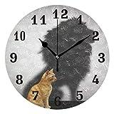 QMIN Wanduhr Katze Tier Löwe Schatten rund Uhr leise kein Ticken leise Uhr für Schlafzimmer Wohnzimmer Küche Büro Home Decor