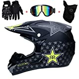 AMITD Casque de Moto pour Enfant Motocross Cross Off-Road, D. O. T Standard Enfants Quad Bike VTT Go Karting Casque, Black, M
