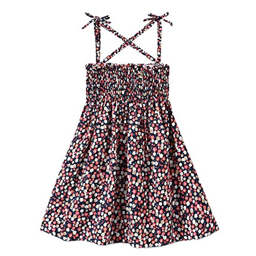 Toddler Baby Girl Floral Dresses Kids Sleeveless Strap Elastic Top Flower Party One Piece Dress Skirt Summer Outfits (Little Flower,1-2T)