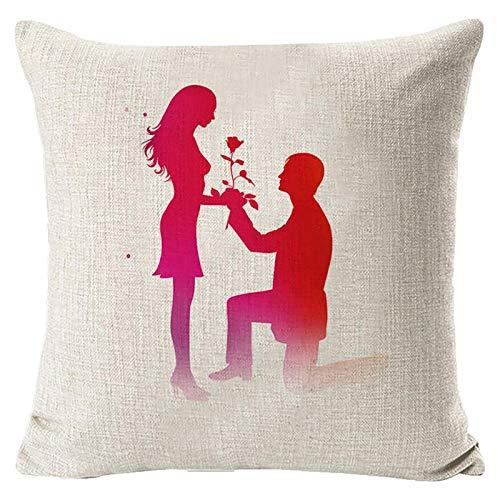 Janly Clearance Sale Funda de almohada, para el día de San Valentín, funda de almohada decorativa, funda de almohada creativa, para Navidad, hogar y jardín, (E)
