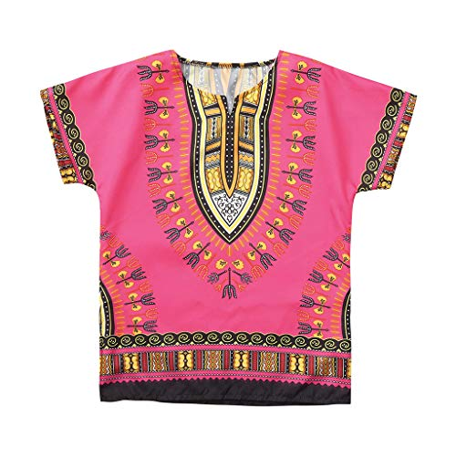 Xmiral Jungen Mädchen Kinder Tops Afrikanischen Nationalen Stil Helle Farbe Kind T-Shirt Kurzarm Oansatz Tops(Rosa,6-7 Jahre)