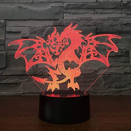 3D Illusion Lamp Tischlampe Feuerdrache Kindergeburtstag Weihnachtsgeschenke Mit USB-Aufladung bunter Farbwechsel