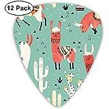 Llamas y cactus en una olla sobre papel pintado verde (12 unidades)