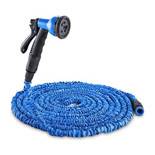 Tuin Waterslang, Flexibele Tuinslang Spuitpistool Irrigatie 8 Functies, Rekbaar tot 7,5-45 meter, Zelfopwindende Spuitbus Douchekraan Adapter Snelle koppeling Kink-Resistant-Groen/Blauw