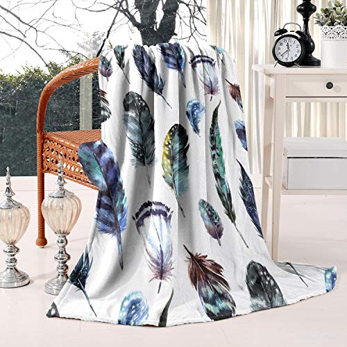 JSRKLB Flannel Fleece Feathers Boho Style Throw Blanket Lightweight Warm Fuzzy Soft Microfiber Blankets All Season for Bed Couch Sofa Twin Size 60x80inch,Thick Blankets for Winter,Best Winter Gift