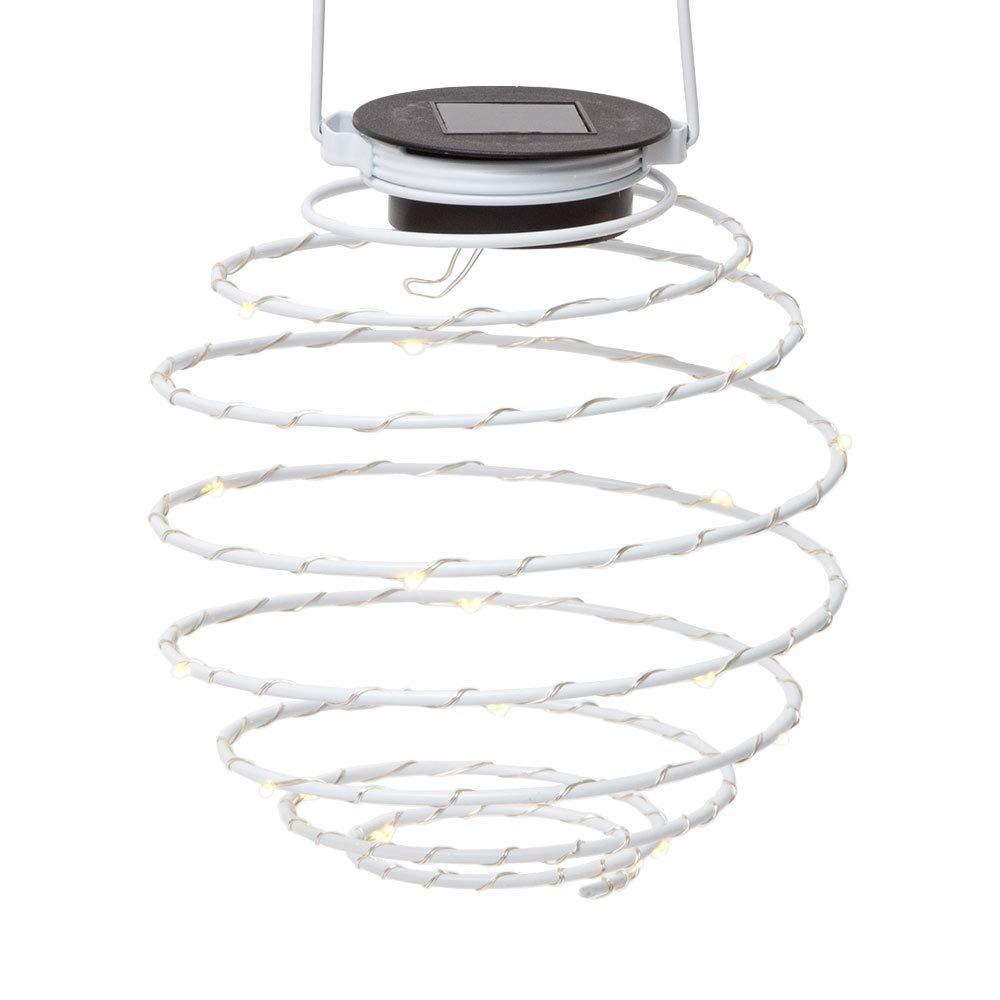 ビット&ピース - ソーラースパイラルLEDライト - 全天候型照明ソーラーライト - 屋外吊り芝生と庭の装飾
