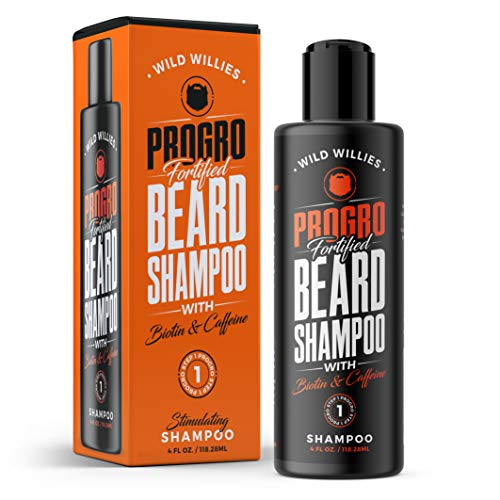 ProGro Beard Shampoo & Wash | Beard Growth & Thickening – Infused with Biotin & Caffeine | Tingly Fresh Clean, Moisturize & Hydrate for Fuller & Younger Looking Beard – (4 oz.) Wild Willies