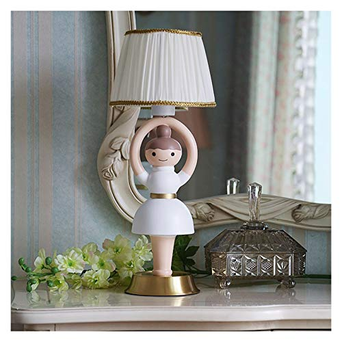 OMIDM Table lamp Spin Ballet Dancer Lamp Cute Children's Table Lamp with White Fabric Shade Used to Decorate the Living Room, Children's Room, Bedroom or Dressing Table Crystal table lamp