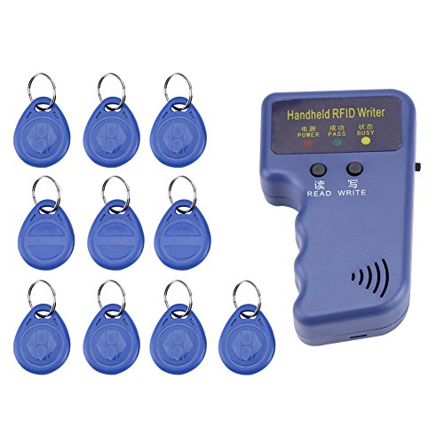 Qiilu RFID Leser, 125 KHz Handheld RFID Schriftsteller/Kopierer/Reader/Duplicator + 10 STÜCKE ID Tags