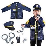TopTie Disfraz de Oficial de Policía para Niños, Juego de Disfraces de Policía-Azul Marino