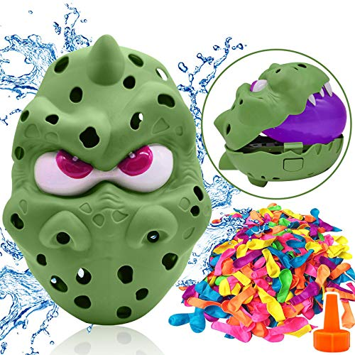 Water Balloons for Kids Pool Game Toys 50 Splash Balloons Dinosaur Timer Rapid Pump Filler for Swimming Pool Outdoor Backyard Summer Water Blaster Launcher Fun Party Outdoor Toys Game for Kids