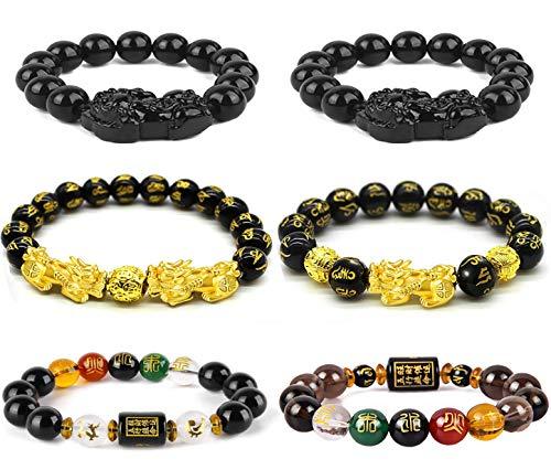 WAINIS 6 PCS Five-Element Feng Shui Black Obsidian Pi Xiu Pi Yao Attract Wealth Bracelet Chinese Dragon Good Luck Prosperity Bracelet Set For Men Women Father