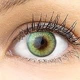 GLAMLENS lentillas de color verdes'Padua Emerald' + contenedor. 1 par (2 piezas) - 90 Días - Sin Graduación - 0.00 dioptrías - blandos - Lentes de contacto verde de hidrogel de silicona