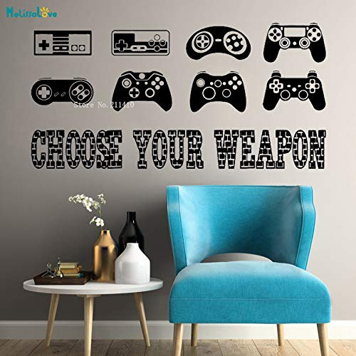 ASFGA Einzigartige kreative Spieler bieten Vinyl Wandtattoo Videospiel Controller Griff Stick Internet Cafe Wandbild Kind Junge Zimmer Wohnzimmer Dekoration Geschenk 85x42cm