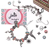 justBe Charm Bracelet Making Kit DIY Craft European Bead Silver Plated Snake Chain Jewelry Gift Set for Girls...