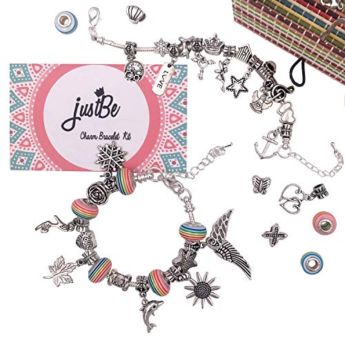 justBe Charm Bracelet Making Kit DIY Craft Jewelry Gift Set for Kids Girls Teens