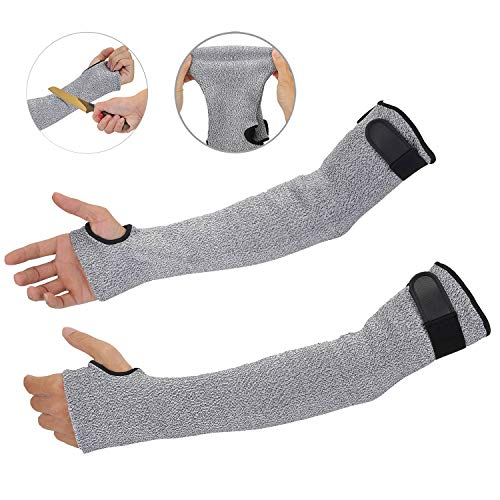 Cut Resistant Sleeves Level 5 Protection, Safety Protective Sleeves Slash Resistance with Thumb Hole, Double Ply Arm Protectors 18 inch Soft Breathable Idea for Gardening Glass Handling