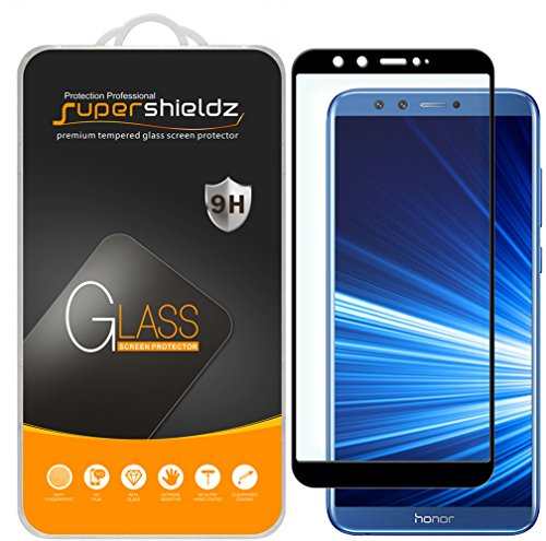 (2 Pack) Supershieldz for Huawei (Honor 9 Lite) Tempered Glass Screen Protector, (Full Screen Coverage) Anti Scratch, Bubble Free (Black)