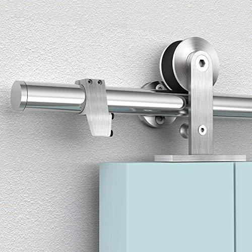 Barn Door Hardware Stainless Steel Track Kit 6FT Heavy Duty for Sliding Single Interior Door Slide Smoothly, Fit 30''-36'' Door
