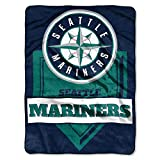 MLB Seattle Mariners Royal Plush Raschel Throw, One Size, Multicolor
