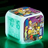 N/Z Gifts for childrenThe Simpsons Colorful Color Alarm Clock LED Mute Small Alarm Clock Gift Quartet,Number 1