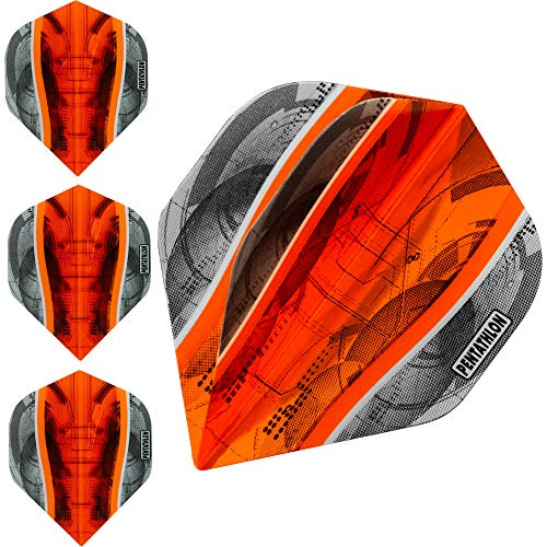 Pentathlon Silver Edge Dartflights, extra stark, 100 Mikron, Standard, 10 Sets (30 Stück), Orange