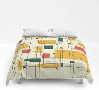 Society6 Comforter, Size King: 104 x 88, Mid-Century Modern (Gold) by studiofibonacci