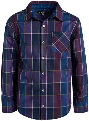 Ben Sherman Boys Long Sleeve Button Down Shirt Purple Blue Plaid 8 product image