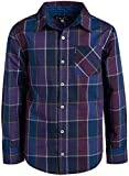 Ben Sherman Boys Long Sleeve Button Down Shirt (Purple/Blue Plaid, 8)'