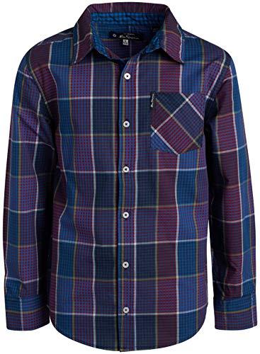 Ben Sherman Boys Long Sleeve Button Down Shirt (Purple/Blue Plaid, 10/12)'