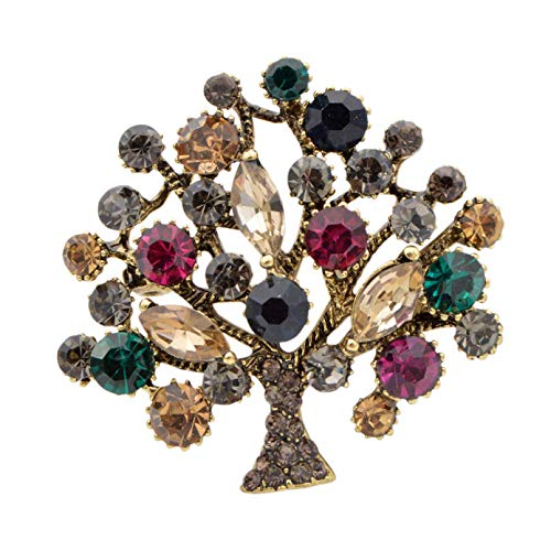 YAMAO Womens Gift Pins Badge,Colorful Rhinestone Tree Brooches for Women Available Fashion Brooch Pin Coat Jewelry Gift