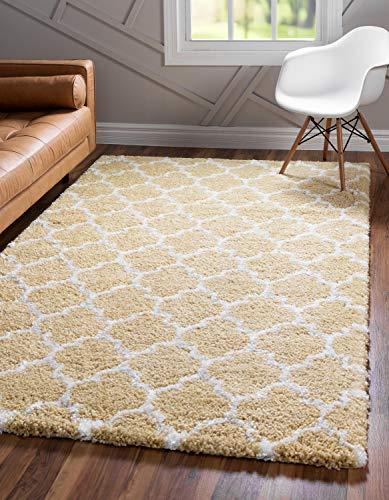 Unique Loom 3139534 Lattice Trellis Geometric Moroccan Plush Area Rug, 8 x 10 Feet, Yellow/Ivory