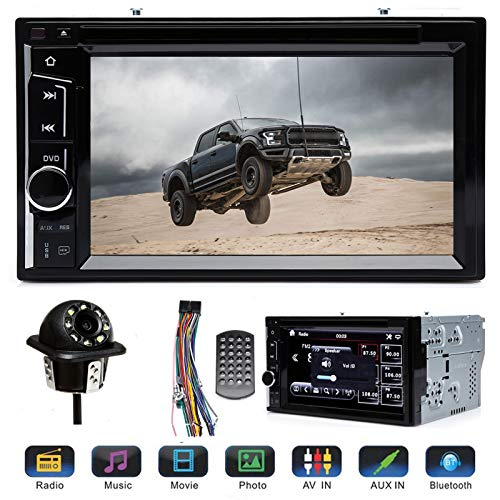 "Double 2 Din Car Stereo with Rear View Parking Camera 6.2"" Touch Screen for Ford F150 F250 F350 F450 F550 2004-2016, Support Mirror Link Steering Wheel Control DVD CD Player Bluetooth USB TF AM FM"