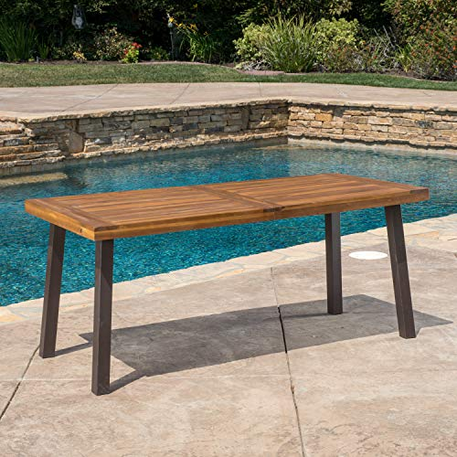 Great Deal Furniture 298192 Spanish Bay Acacia Wood Outdoor Dining Table | Perfect for Patio | with Teak Finis, Brown
