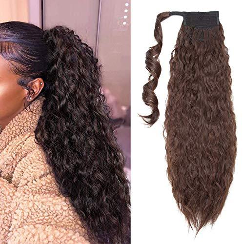 66cm Extensiones de Clip de Pelo Natural ola de Maíz Cola de Caballo Pasta Mágica Ondulado Ponytail Hair Extension Pedazo de Cabello Marrón medio