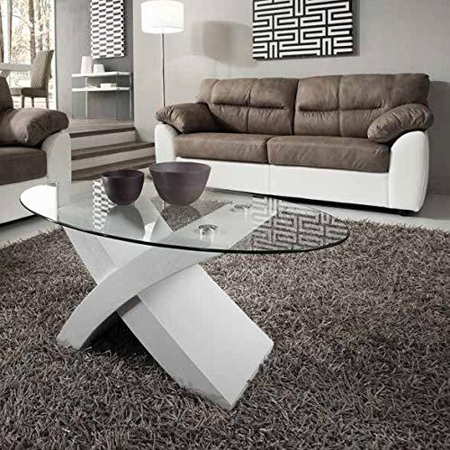 Mocada Tito Tavolino da Salotto in Legno e Cristallo Ovale Soggiorno Design - Bianco Frassinato