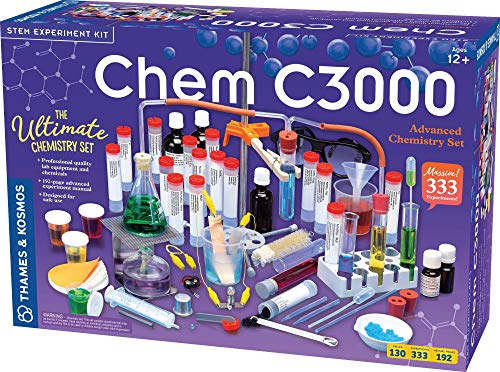 Thames & Kosmos Chem C3000 (V 2.0) Chemistry Set | Science Kit with 333 Experiments & 192 Page Lab Manual, Student Laboratory Quality Instruments & Chemicals, Multi, 21.3' Large x 7.2' W x 14.6' H (640132)