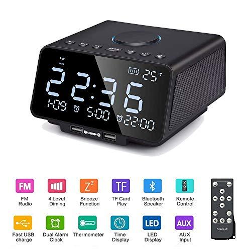 Liujie nachtkastje luidspreker, Bluetooth luidspreker 4.2 draadloze stereo-HD-audio ingebouwde dual-USB-microfoon-LED digitale wekker wekfunctie, zwart