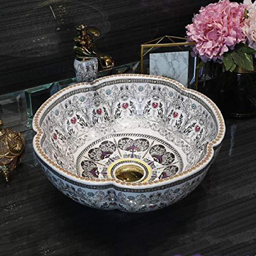 YYZD Lavabo de cerámica Lavabo de cerámica de arte simple, champú, lavabo de baño, encimera, juego de desagüe redondo, solo lavabos