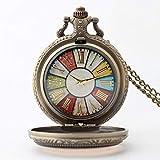 Reloj de bolsillo elegante clásico.Reloj de bolsillo industrial de la vendimia, reloj de bolsillo clásico colorido de la bolsa de cuarzo, moda para cumpleaños, vacaciones, regalo conmemorativo ,Punk
