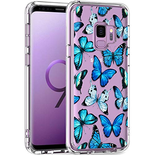 LUHOURI Samsung Galaxy S9 Case Clear with Blue Butterflies Design for Girls Women,Shockproof Hard PC Back Cover and Soft TPU Bumper Slim Fit Protective Phone Case for Galaxy S9 5.8 inch 2018