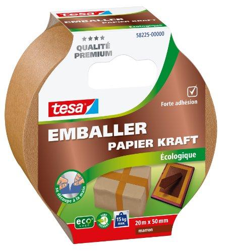Tesa 58225-00000-00 - Cinta adhesiva para embalar (recubierta con papel de estraza, 50 mm x 20 m)