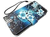 For ZTE Majesty Pro Z798BL Z799VL / ZTE Majesty Pro Plus Z899VL (2017) Wallet Pouch Phone Cover Case + Gift Stand (Wallet - Aqua Teal Flower)