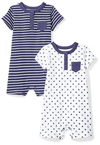 Product Image of the Moon and Back Baby Set of 2 Organic Rompers, Navy Sea, Newborn