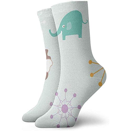 Kevin-Shop Leuke Olifant Plant Patroon Enkelsokken Casual Gezellige Crew Sokken voor Mannen, Vrouwen, Kinderen