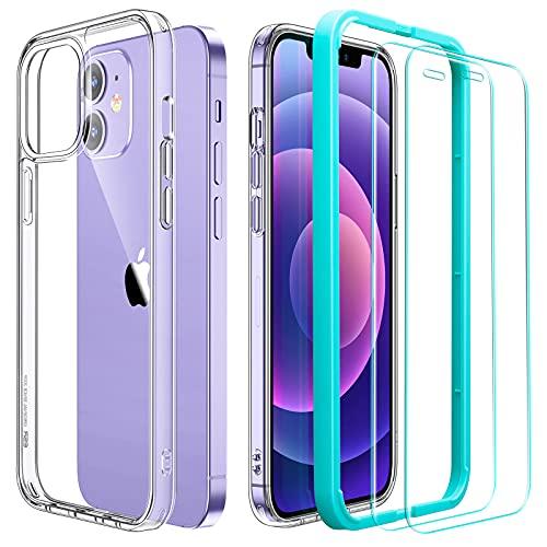 ESR Coque Compatible avec iPhone 6.1 Pouces 12 et 12 Pro avec 2 Verres Trempés Protection écran, Angles Choc Amortissant, Coque Séries Classi, Transparent